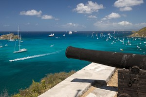 Canons on the hill at St. Barth island, Caribbean sea