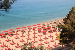 Makris Gialos beach at Argostoli of Kefalonia island in Greece