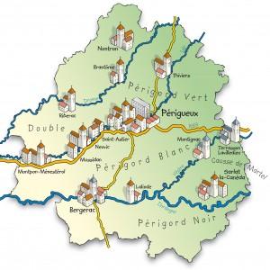 mapa do Vale do Dordonha, França