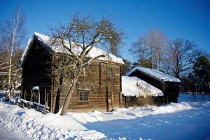 Casas antigas no museu Skansen em Estocolmo