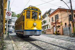 Iconic bonde tram Santa Teresa in Rio de Janeiro, Brazil
