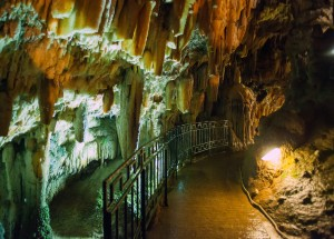 Drogarati limestone cave formations on Kefalonia island, Greece