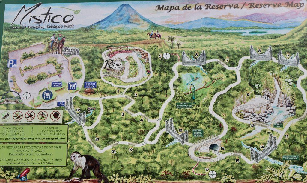 Mapa do Místico Arenal Parque das Pontes Suspensas, Costa Rica