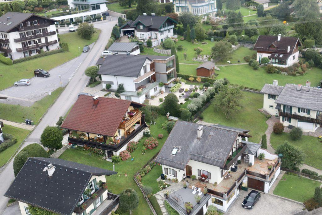 Vista do teleférico em St. Gilgen, Áustria