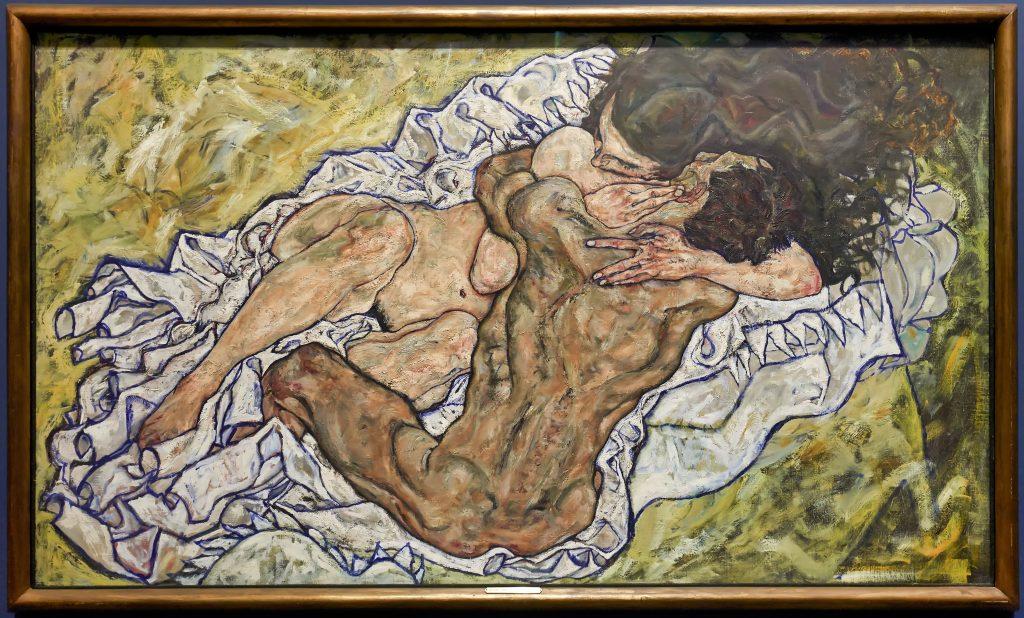 Pintura de Egon Schiele, Abraço (Homem e Mulher) 1917